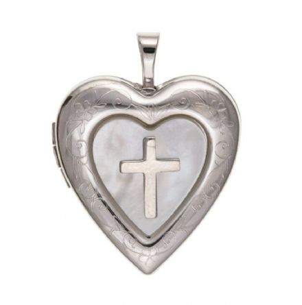 Silver Cross Locket with Mother Of Pearl.